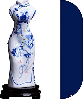 Rare Chinese Blue and White Porcelain Hand Painted cheongsam Vase
