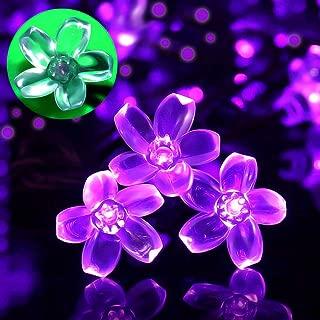SEMILITS Patio Decor String Lights - Solar Powered Outdoor Waterproof 23ft 50 LED Purple Flower Fairy Light for Tree Garden Fence Yard