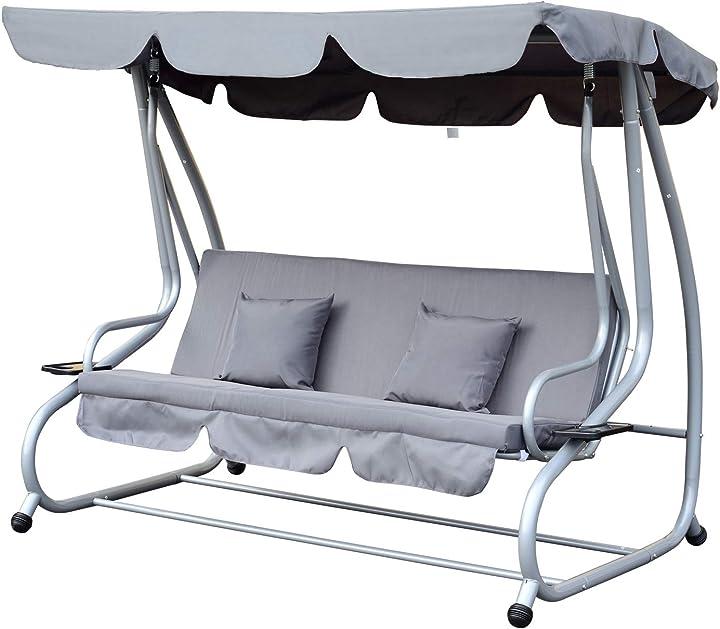 Letto dondolo da giardino 3 posti schienale reclinabile tetto regolabile grigio 200×120×164cm outsunny IT84A-051GY0631