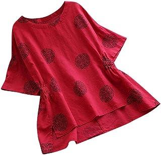 Dubocu Women's Tops Dot Print Loose Cotton Short Sleeved Shirt Vintage Blouse