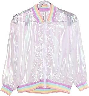 HuntGold Fashion Iridescent Soft Sunproof Transparent Clear Bomber Jacket Holographic Coat