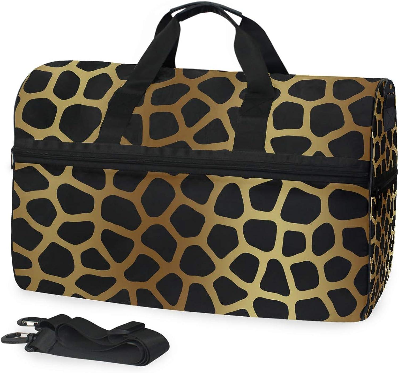 FANTAZIO gold Animal Skin Sports Duffle Bag Gym Bag Travel Duffel with Adjustable Strap