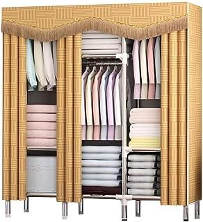 HWG Armoire en Tissu Armoire Rangement Plus épais étanche, avec étagère en Métal Et Cache Anti-poussière Pliable, Utilisé ...