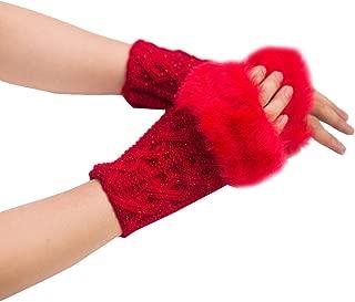 PASATO New Sale!Women Girl Warm Winter Faux Rabbit Fur Wrist Knitted Long Fingerless Soft Gloves Mittens For Women