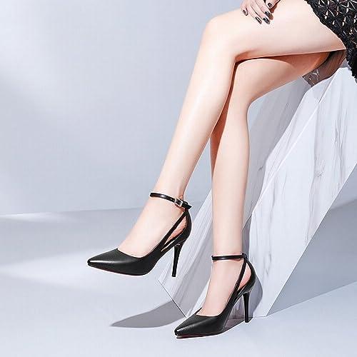DHG Chaussures Haut de Gamme à Talons Hauts Et Chevilles avec Une Bouche Peu Profonde Chaussures Simples Pointues Chaussures Féminines,D avec 9cm de Haut,35