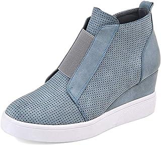 Minetom Femme Sneaker Mode Baskets en Mesh Respirant Chaussures Plates Mode Automne Hiver Talon Compensé Plateforme Ankle ...