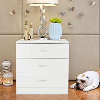 Henf 3 Drawer Dresser,Wood Chest Cabinet Furniture Storage Tower Chest for Bedroom, Nursery, Playroom, Closet, Clothes, Toy Organization(White) (Style-3)