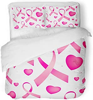 Emvency Bedding Duvet Cover Set Queen (1 Duvet Cover + 2 Pillowcase) October Pink Breast Cancer Ribbons and Hearts Awareness Endless On White Bow Care Hotel Quality Wrinkle and Stain Resistant
