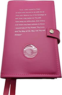 Deluxe Double Alcoholics Anonymous AA Navy Pink Big Book & 12 Steps & 12 Traditions Book Cover with Third Step Prayer Medallion Holder