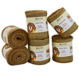 Burlap Ribbon, Wide Natural, 5 Inch x 10 Yard Loose Weave Roll for Crafts and Decor (6 Rolls)