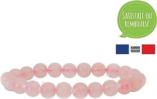 Garaulion Bracelet Pierre Naturelle 8mm, Quartz Rose, Femme/Homme,Bijoux Perles Idée Cadeau Anniversaire Maman (Quartz)