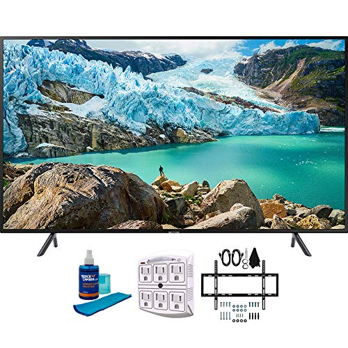 Samsung 50' RU7100 LED Smart 4K UHD TV 2019 Model (UN50RU7100FXZA) with Slim Flat Wall Mount Kit Ultimate Bundle for 45-90 inch TVs, Screen Cleaner for LED TVs & SurgePro 6-Outlet Surge Adapter