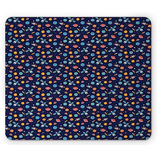 Tappetino per mouse spazio esterno, stile cartoon Corpi celesti Nursery Rocket Planets Satellite Sun UFO Pattern Mousepad, Multicolor