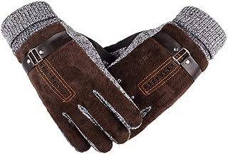 INYU Mens Long Leather Glove 2018 Winter Wool Knitted Mitten Hand Warmer Handschoenen Warm Fleece
