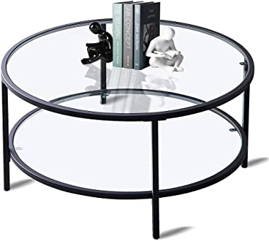 Round Glass Coffee Table for Living Room, Modern Coffee Table Decor with 2 Tier Tempered Glass Boards & Metal Frame, Black Co
