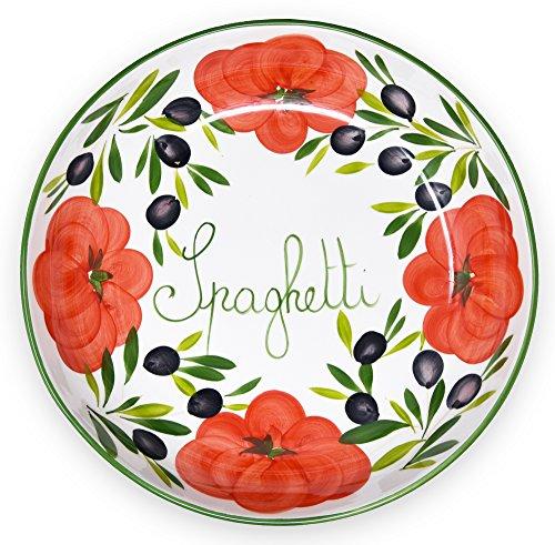 Lashuma Handgemachte Nudelschale aus Italienischer Keramik im Tomatendesign, Runde Pastaschüssel 36 cm, 7 cm tief