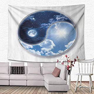 Apartment Decor Tapestry Wall Decor Yin Yang Icon Shaped World with Moon and Sun Figures Harmony of The Universe Wall Art Home Décor for Dorm 80