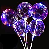 10 Pack LED Bobo Balloons with Stick and Pump,Transparent LED Light Up Balloons, Helium Glow Bubble Balloons with String Lights for Party Birthday Wedding Festival Decorations (Colorful)