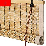 Reed Curtain Blind Shades Straw Curtain Roll Up Sunscreen Breathable Burlap Edge Retro 2 Colors Custom Size (Color : A Size : 120x200cm)