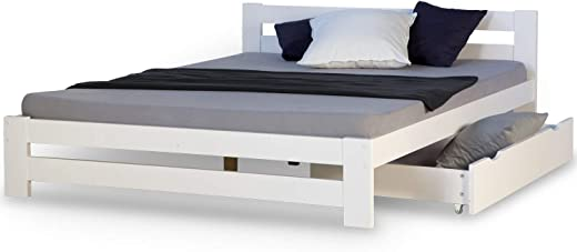 Homestyle4u 1962, Holzbett 140×200 mit Bettkasten, Doppelbett mit Lattenrost, Weiss, Kiefer Massivholz