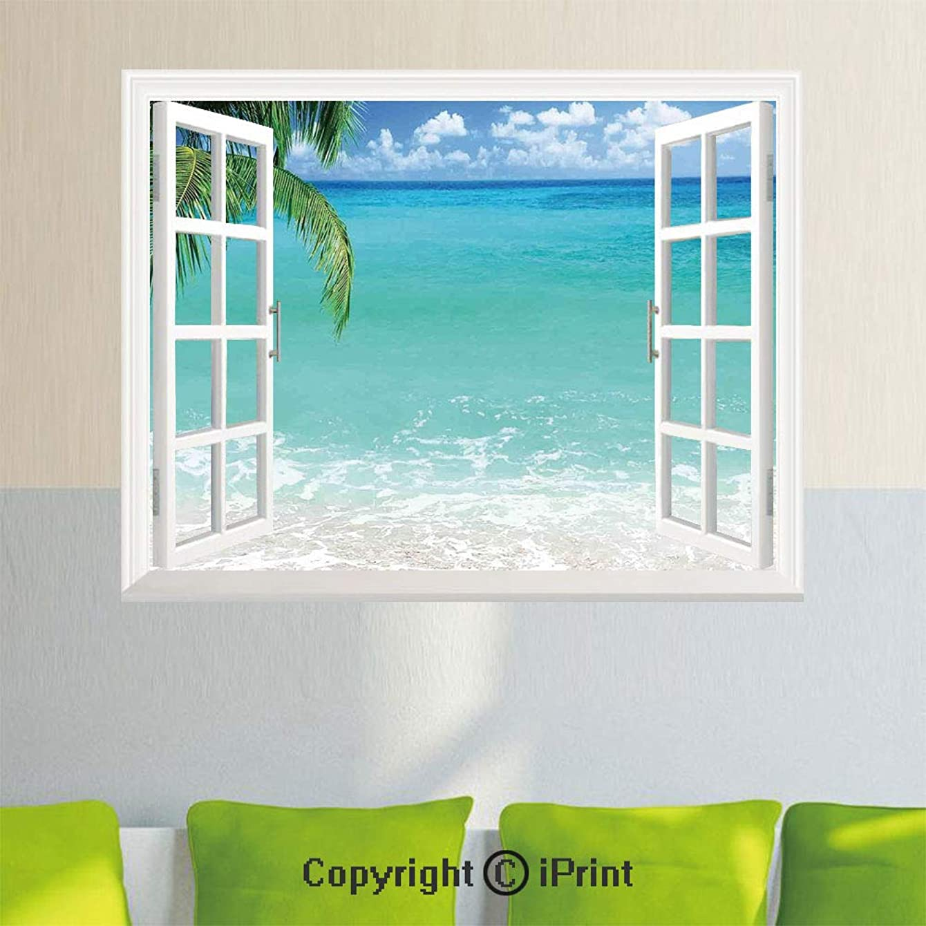Delicate Wall Decal Sticker,Exotic Lebanon Beach Panoramic Sea View with Clean Water and Blue Sky,35.4X 23.6inch,Open Simulation Window Stickers