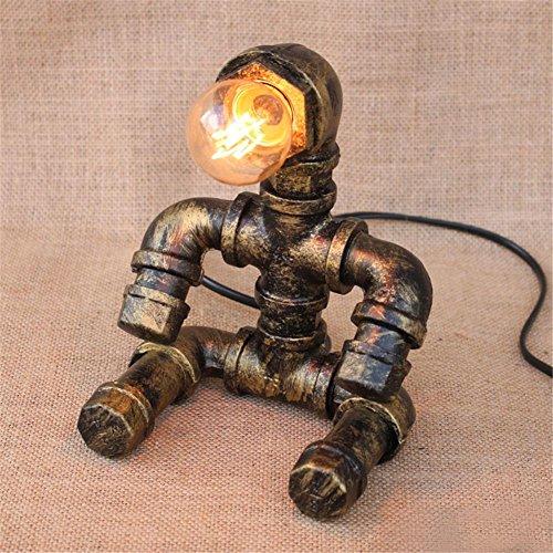 Lampe de Table Industrial Retro Water Pipes Lampe de table Vintage Loft Luminaire de bureau créatif pour salon Chambre Bar Hall Pub Étude Café Art de fer Ambience Décoration Lampe de bureau, A