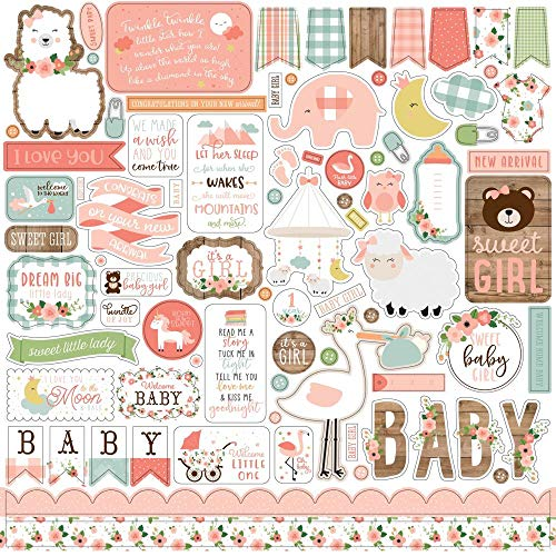 Echo Park Paper Company BAG202014 Baby Girl Element Sticker Paper 12x12Inch Pink Yellow Green Blue
