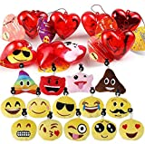 28 Packs Valentines Emoji Keychains Filled Hearts and Valentine's Day Cards for Classroom Exchange, Emoji Party Supplies for Gift Exchange, Game Prizes and Carnivals Rewards