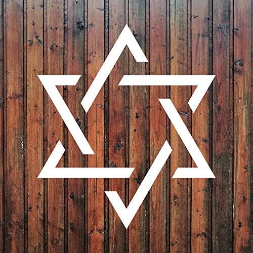 Davidstern-Symbol-Aufkleber, Vinyl, lustiger Aufkleber, Religion, jüdisches Judentum, gestanzt, Aufkleber für Auto, Stoßstange, Laptop, LKW, Fenster, Wände und mehr, weiß