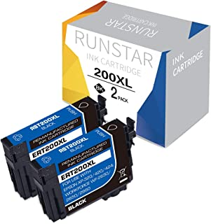Run Star 200XL Remanufactured Ink Cartridge Replacement for Epson 200XL T200XL T200XL120 for XP-200 XP-300 XP-310 XP-400 XP-410 WF-2520 WF-2530 WF-2540 WF-2010F WF-2010W WF-2510WF Printers (2 Black)