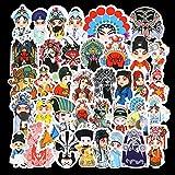 Personajes de ópera maquillaje facial pegatina para maleta ópera de Pekín decoración de estilo chino pegatina para ordenador Trolley maleta 50 hojas