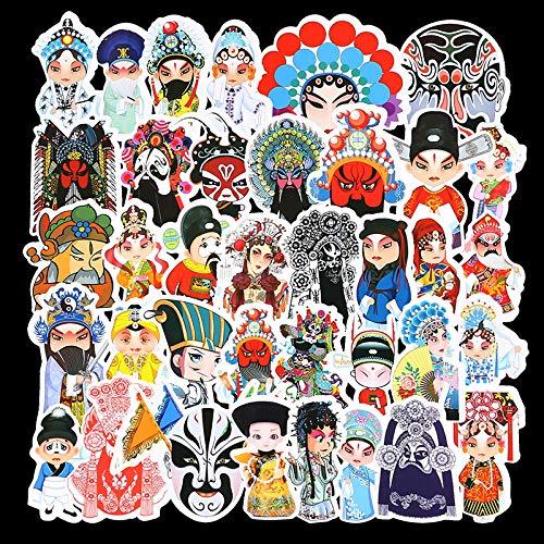 BUCUO Opera Personaggi Facebook Bagagli Sticker Pechino Opera Stile Cinese Decorazione Computer Sticker Trolley Valigia 50 Pz