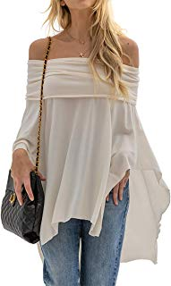 Women's Off Shoulder Poncho Sweater Batwing Sleeve Pullover Loose Jumper