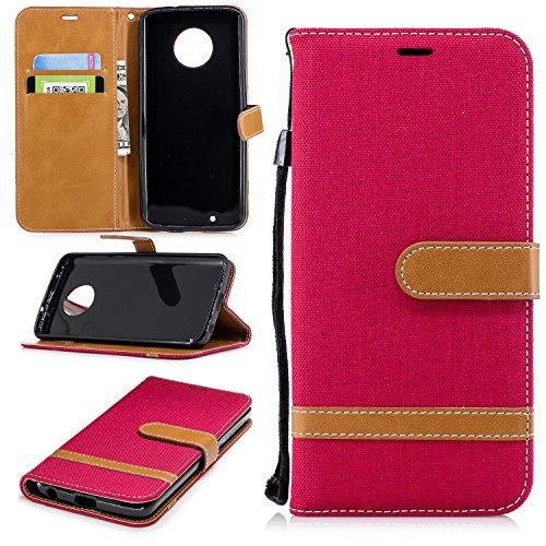 Jeewi Hülle für Moto G6 Hülle Handyhülle [Standfunktion] [Kartenfach] [Magnetverschluss] Tasche Etui Schutzhülle lederhülle klapphülle für Motorola Moto G6 - JEBF031004 Rot
