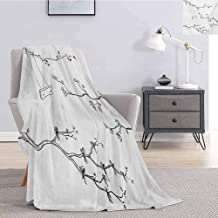Luoiaax Tree Faux Fur Blanket Warm Cozy Doodle Tree Branches with a Swing in Windy Day Spring Buds Artistic Illustration Soft Fuzzy Blanket for Couch Bed W54 x L72 Inch Black White