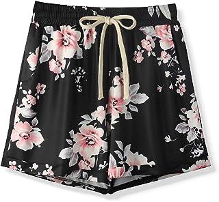 Sobrisah Elastic Shorts for Women Summer Drawstring Cotton Linen Beach Shorts with Pockets