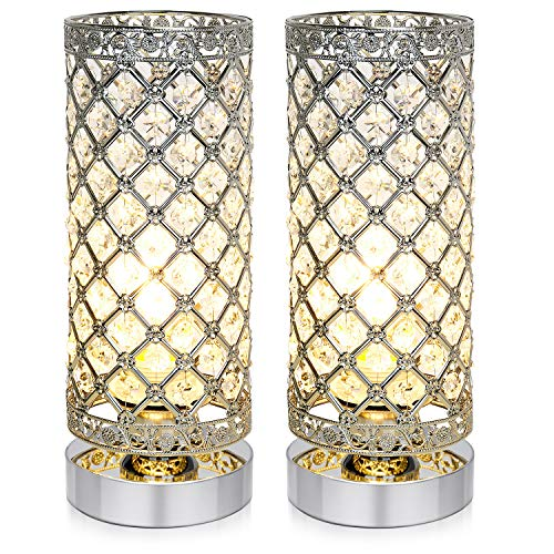 Crystal Table Lamp, Accent Nightstand Desk Lamp Bedside Modern Table Light with Sliver Lamp Shade Night Light Fixture for Living Room Bedroom Kitchen Dining Room, Set of 2