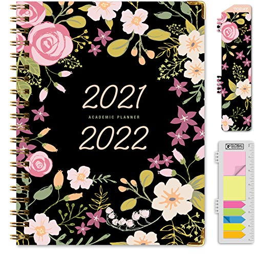 HARDCOVER Academic Year 2021-2022 Planner June 2021 Through July 2022 85x11 Daily Weekly Monthly Planner Yearly Agenda Bookmark Pocket Folder and Sticky Note Set Black Floral