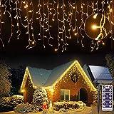 Solare Tenda Luminosa 256 LEDs , 5M Luce Stringa Catene Luminose, 8 Modalità Luci cascata luce Ghiacciolo, Decorare Interni Esterni Finestra Patio Giardino Natale Halloween, Bianco Caldo