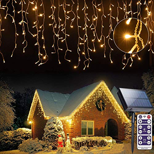 Solar Icicle String Lights 16FT/5M Outdoor Decorations 256 LED 8 Mode Remote Curtain Light, Fairy Lights Solar Fence Christmas Lights Balcony Light Waterproof for Gardens Backyard Patio (Warm White)