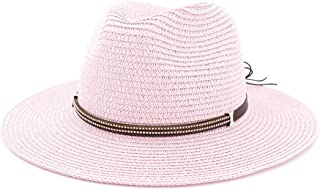 Women Straw Panama Hat with Wide Brim Female Elegant Summer Sun Fedora Hat British Style Latest Designs Beach Hat` TuanTuan (Color : Pink, Size : 56-58CM)