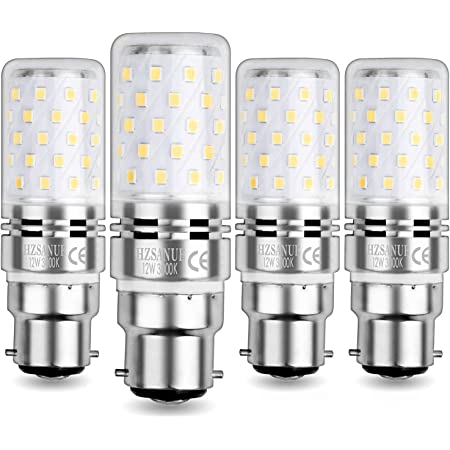 HZSANUE Ampoule Maïs LED B22 12W, LED Baïonnette Ampoules, Blanc Chaud 3000K, 1200LM, Équivalent Ampoule Incandescence 100W, Non Dimmable, lot de 4