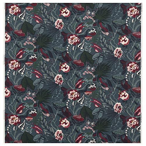 MBI Stoff dunkelblau/florales Muster, Größe zusammengebaut: Gewicht: 230 g/m², Breite: 150 cm, Rapport: 29 cm, Fläche: 1,50 m².