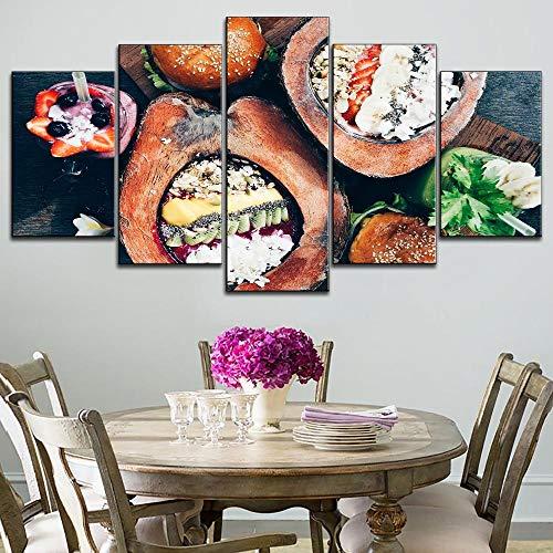 17rqqh Gerahmte 5 Stück Leinwand Malerei Früchte Kokosnuss Dessert Typ Poster Modulare Bilder Moderne Dessert Und Sushi Decor Wandkunstwerk
