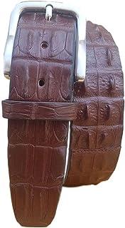 ESPERANTO Cintura coccodrillo schiena uomo e donna 4 cm,fodera vera pelle cuoio nabuk artigianale 4 cm accorciabile- tabac...