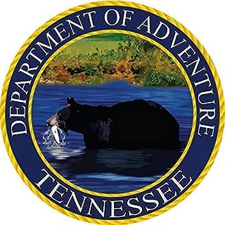 Tennessee Sticker, Department of Adventure State Seal TN Black Smoky Mountain Bear - Vinyl Decal Label for Water Bottle Laptop Luggage Bike Laptop Tacklebox 5 Gal Bucket Bumper Helmet Waterproof