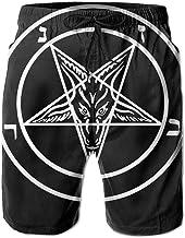 Aazazel Storm Goat Pentagram Satanic Logo Men's/Boys Casual Quick-Drying Bath Suits Elastic Waist Beach Pants with Pockets