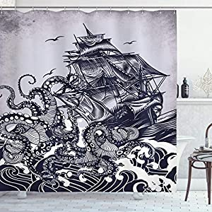 "Ambesonne Nautical Shower Curtain, Kraken Octopus Tentacles with Ship Sail Boat in Ocean Waves, Cloth Fabric Bathroom Decor Set with Hooks, 84"" Long Extra, Blue"