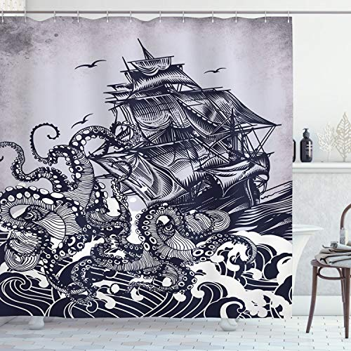 Ambesonne Nautical Shower Curtain, Kraken Octopus Tentacles with Ship Sail Old Boat in Ocean Waves, Cloth Fabric Bathroom Decor Set with Hooks, 70' Long, Blue