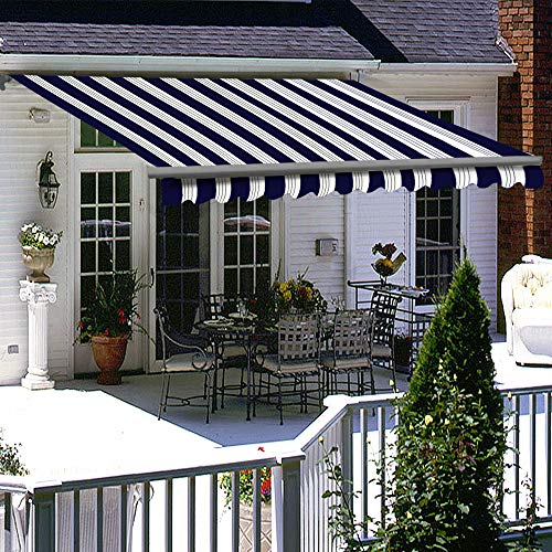 Greenbay 3.5 x 2.5m Retractable Manual Awning with Fittings and Crank Handle Patio Garden Sun Shade Canopy Gazebo Blue-White